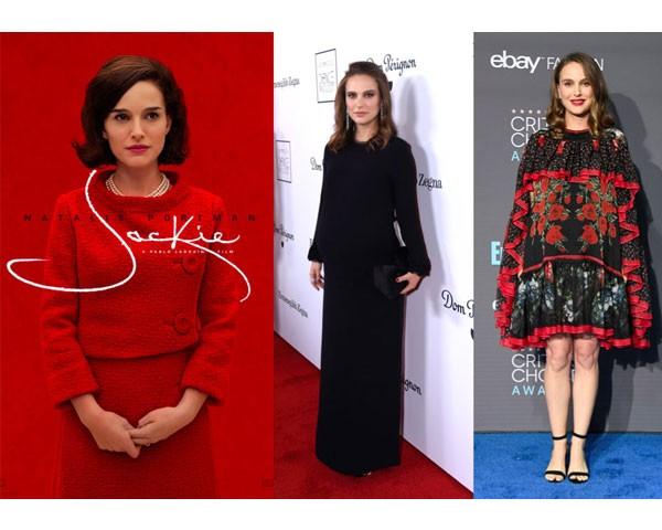 """O cartaz de """"Jackie"""" e Natalie Portman nos eventos de divulgação do filme (Foto: Instagram)"""