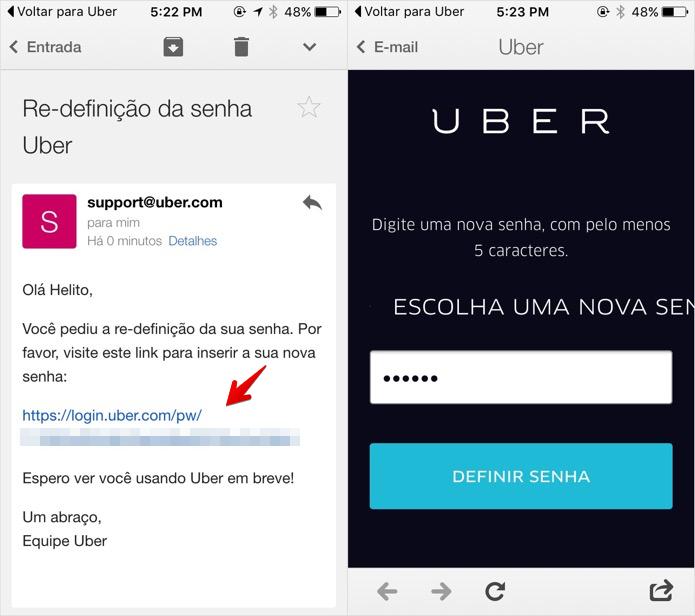 Redefinindo senha da conta no Uber (Foto: Reprodução/Helito Bijora)