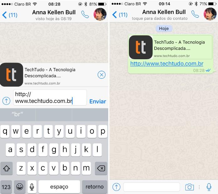 WhatsApp para iPhone ganha pré-visualização de links (Foto: Reprodução/Maria Clara Pestre)