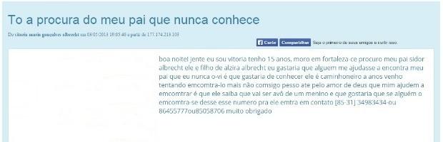Vitória usou site de pessoas desaparecidas para avisar o pai que seria avô (Foto: iFórum/Reprodução)