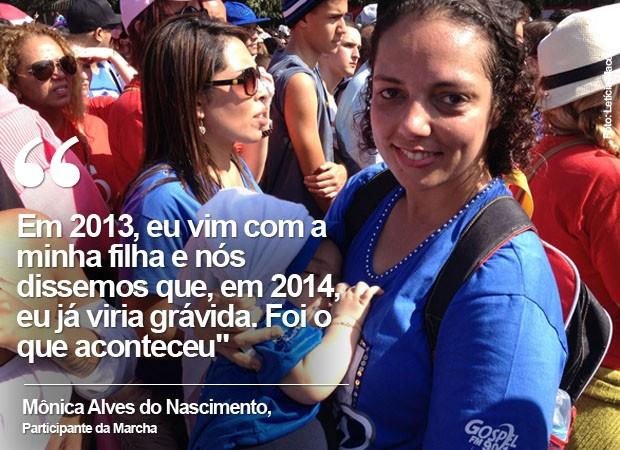 Mônica levou filho de oito meses para a Marcha para Jesus (Foto: Letícia Macedo/G1)