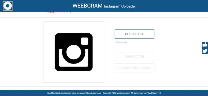 Selecione uma foto para fazer o upload (Foto: Reprodução/WeebGram)
