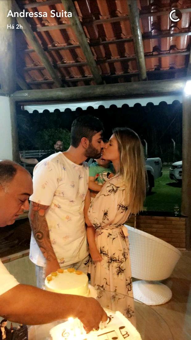 Gusttavo Lima e Andressa Suita (Foto: Reprodução/Snapchat)