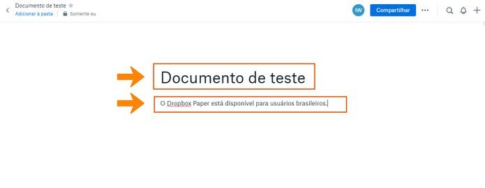 Modifique o título e conteúdo de texto do documento no Dropbox Paper (Foto: Reprodução/Barbara Mannara)