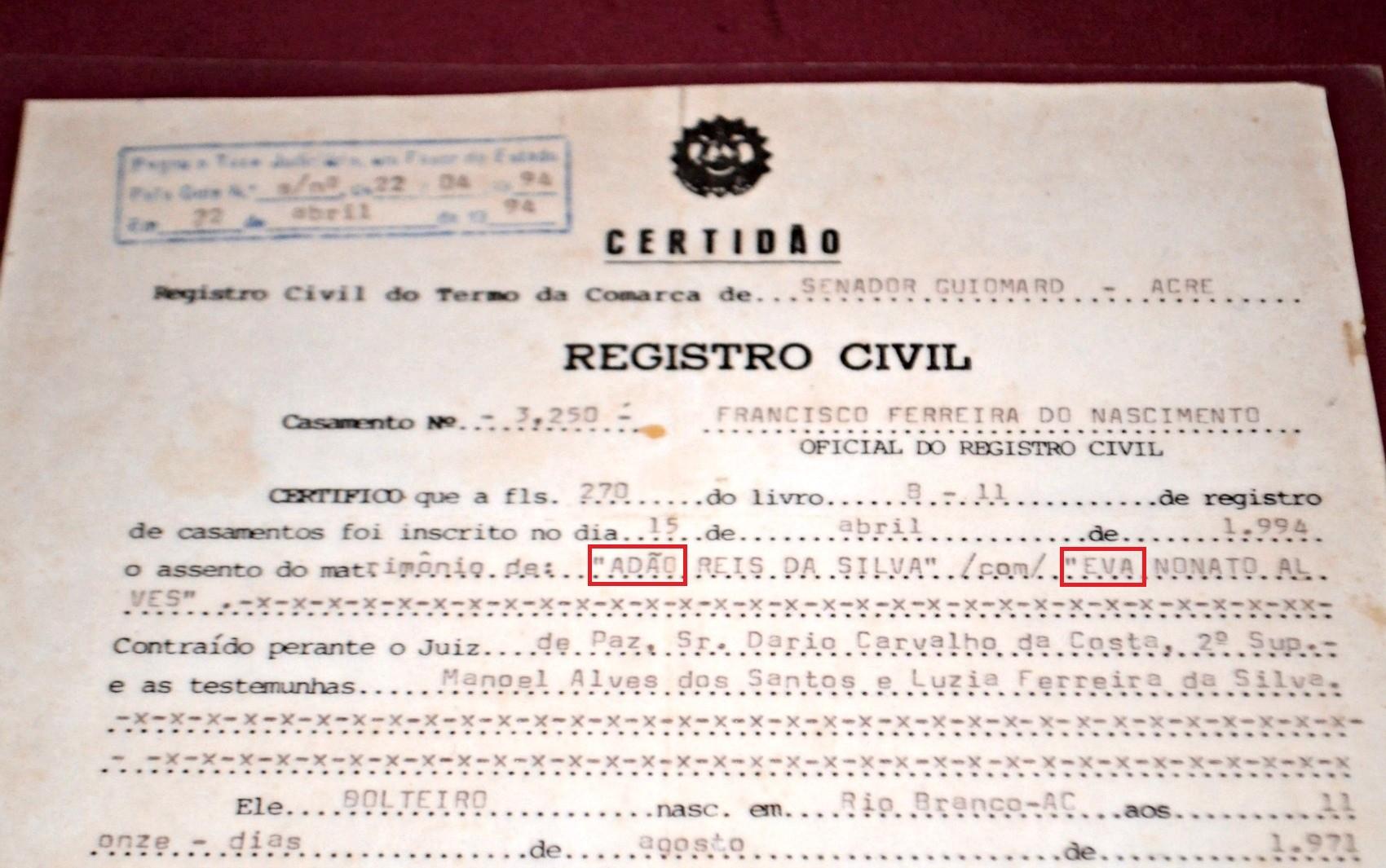Casal subiu ao altar em 1994 no município de Senador Guiomard (Foto: Caio Fulgêncio/G1)