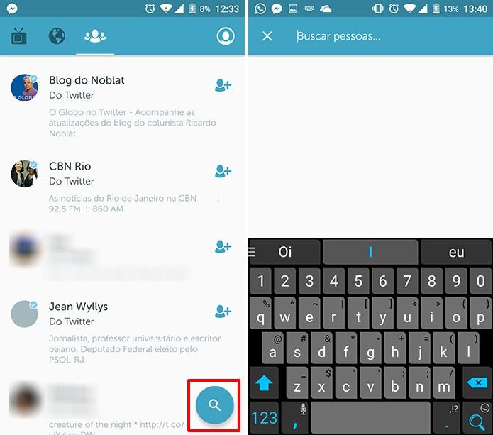 Periscope também pode procurar pessoas com o nome digitado pelo usuário (Foto: Reprodução/Elson de Souza)