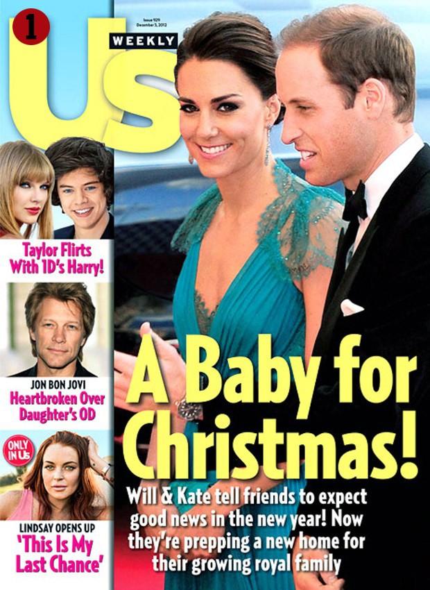 Novembro 2012: A revista Us Magazine trouxe matéria de capa sobre a possível gestação da princesa (Foto: Reprodução)