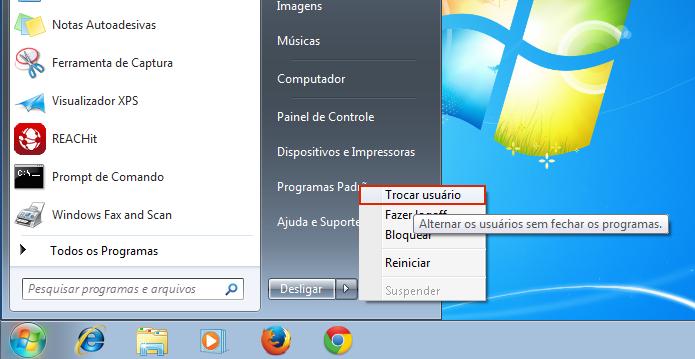 Acessando a opção Trocar usuário no Windows 7 (Foto: Reprodução/Edivaldo Brito)