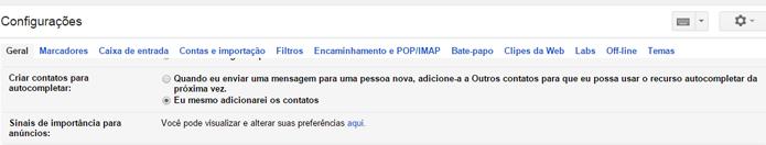 Opção está disponível nas configurações do Gmail (foto: Reprodução/Gmail)