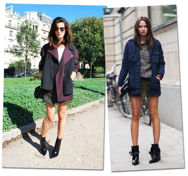 Jaquetas e casacos mais esportivos como paarkas são outra opção, como mostram essas fashionistas (Foto: Stockholm Streetstyle/Reprodução)