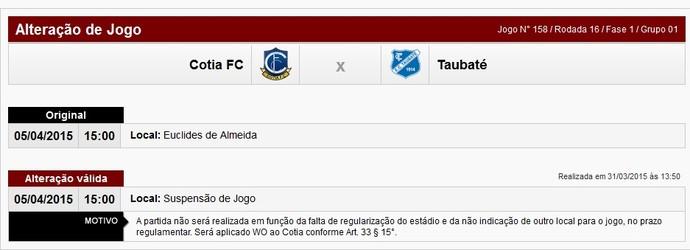 Cotia x Taubaté W.O. (Foto: Reprodução/ Federação Paulista de Futebol)