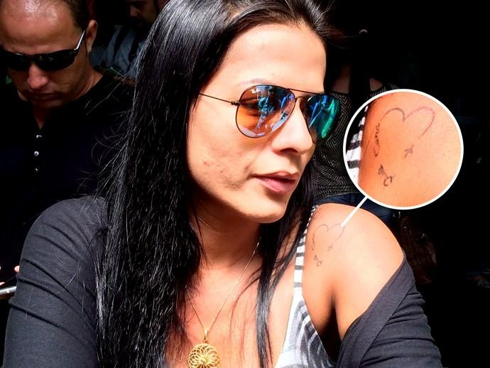 Tatuagem esposa cleber santana (Foto: David Abramvezt / GloboEsporte.com)