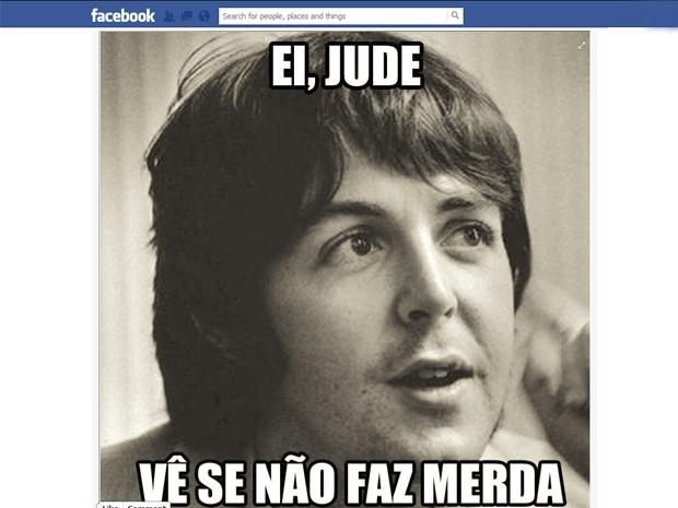 Imagem da página 'João Lennon' no Facebook, que faz referência à música 'Hey Jude', dos Beatles (Foto: Reprodução/Facebook)