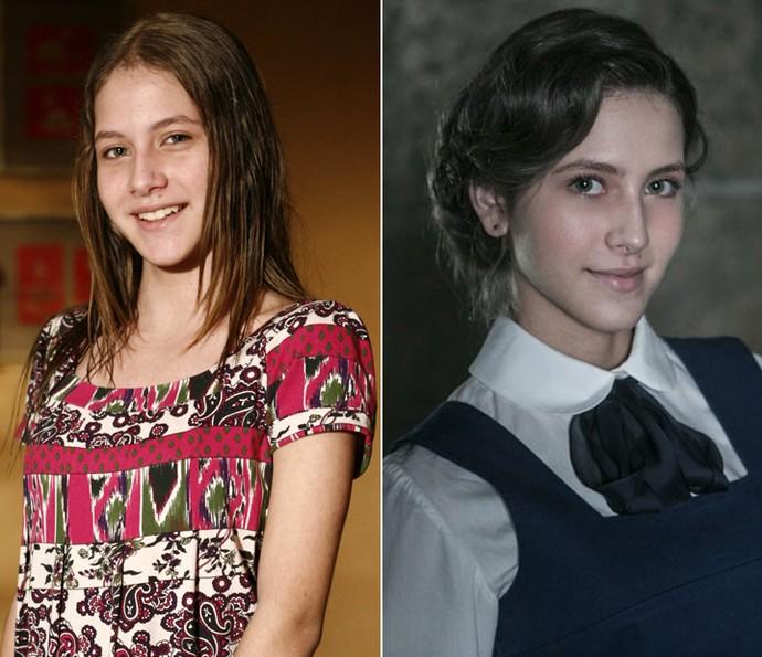 Em 2008, Hanna Romanazzi foi Camila em sua estreia na TV em 'A Favorita'. Em 'Ligações Perigosas', a atriz é Sofia, amiga de Cecília no internato (Foto: Fabrício Mota / TV Globo / Inácio Moraes / Gshow)