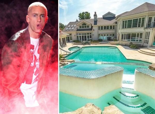 O rapper Eminem e sua antiga mansão  (Foto: Getty Images/Divulgação)