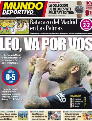 Capa Mundo Deportivo Real Madrid Barcelona
