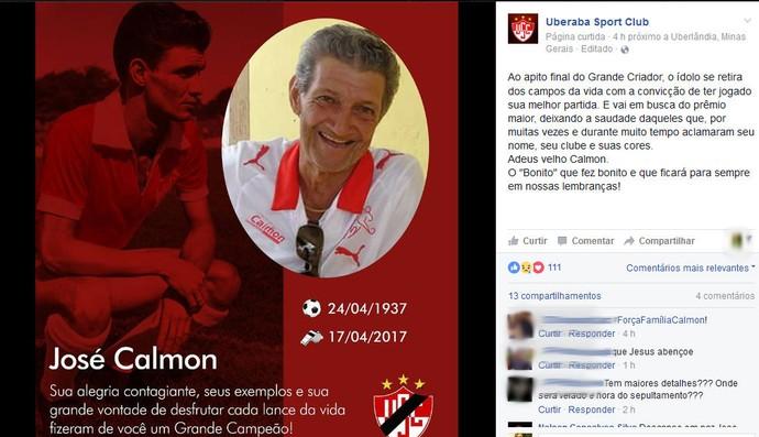 José Calmon. ex-jogador, Uberaba Sport (Foto: Reprodução/Facebook)