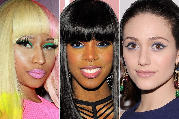 Delineador colorido - Nicki Minaj, Kelly Rowland e Emmy Rossum (Foto: Getty Images)