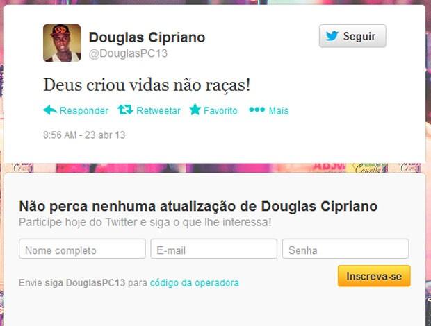 Twitter Douglas Cipriano Vasco (Foto: Reprodução / Twitter)