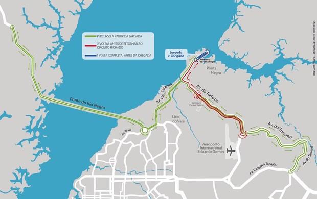 Mapa ciclísticas Aguinaldo e Amélia Archer Pinto Manaus Amazonas (Foto: Globoespote.com)