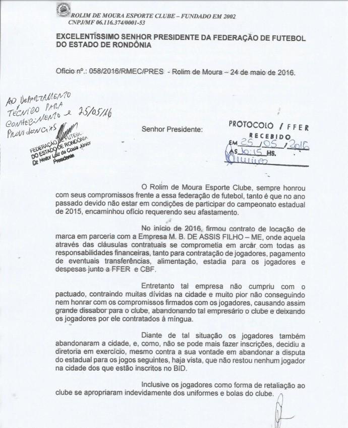 Documento oficializa retirada do Rolim de Moura de Campeonato Rondoniense (Foto: Divulgação / FFER)