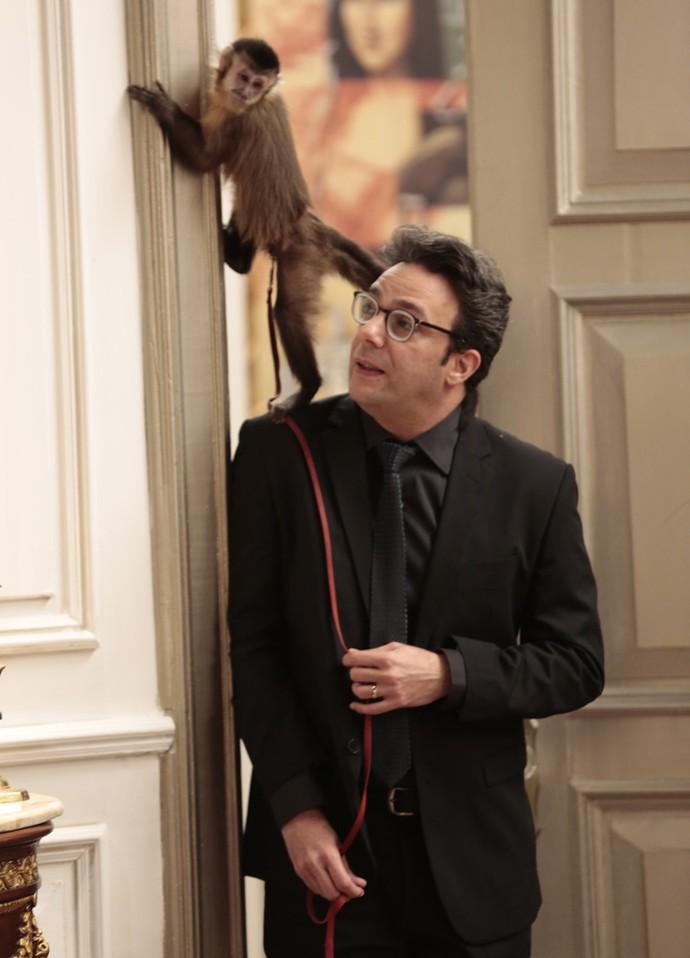 O ator também contracenou com um macaco (Foto: Felipe Monteiro/Gshow)