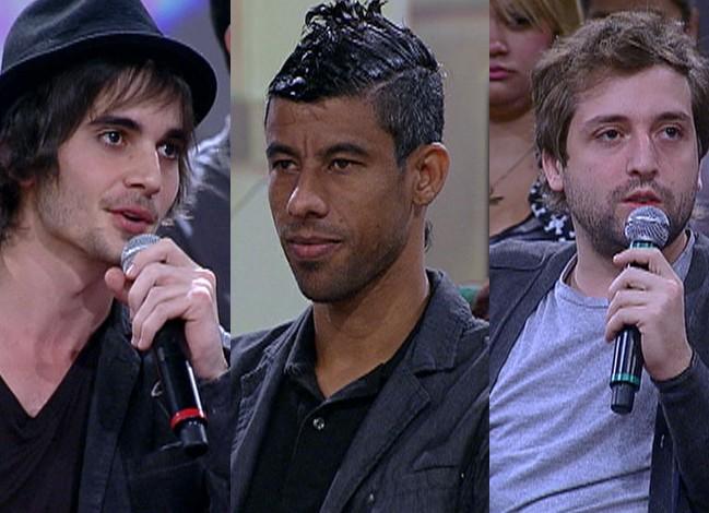Léo Moura, Fiuk e Gregório Duvivier batem um papo sobre corte de cabelo (Foto: Encontro / TV Globo)