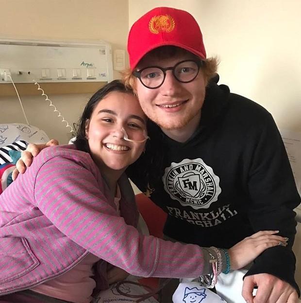 Ed Sheeran visita paciente Isadora em hospital do PR (Foto: Reprodução/Instagram)
