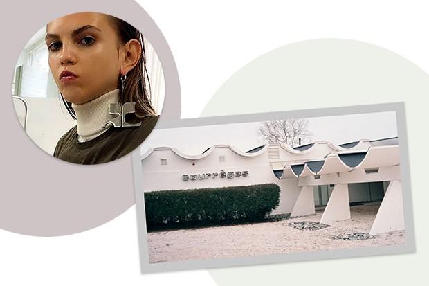 A fachada futurista da fábrica da Courrèges, em Pau (Foto: Kirstin Sinclair/Getty Images , Agência Fotosite, Getty Images, Divulgação e Reprodução/ Instagram)