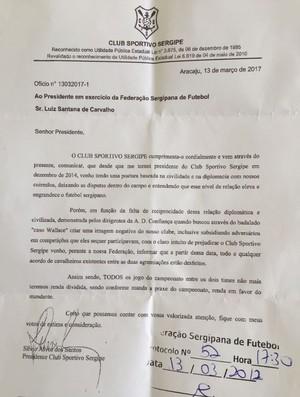 Documento do Sergipe sobre renda dividida (Foto: Divulgação/CSS)