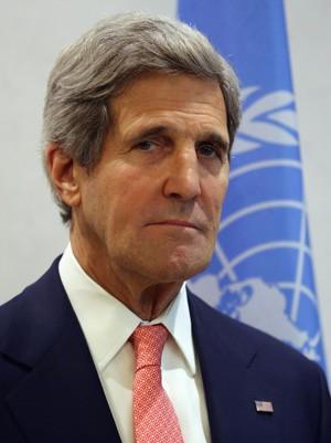 John Kerry durante reuninão nas Nações Unidas na última quinta-feira (25). EUA estão 'profundamente preocupados' com violência no Egito (Foto: John Moore/Getty Images/AFP)