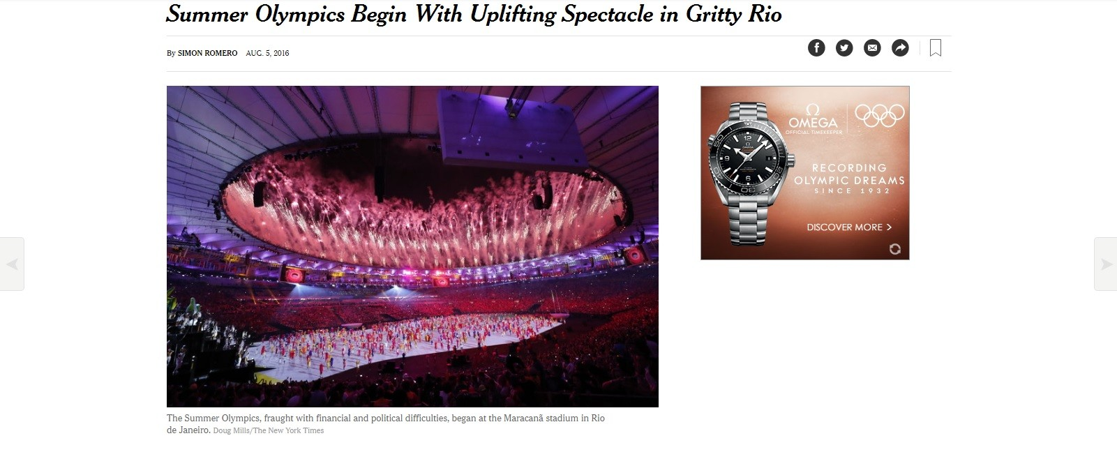 nyt, new york times, cerimonia abertura, guardian