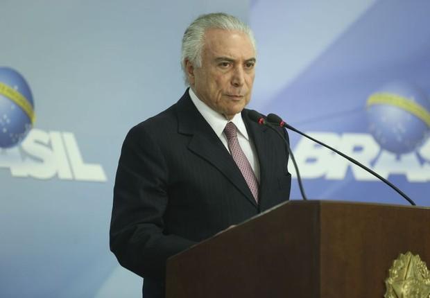 O presidente Michel Temer faz pronunciamento em Brasília, após aprovação da reforma trabalhista no Senado (Foto: Valter Campanato/Agência Brasil)