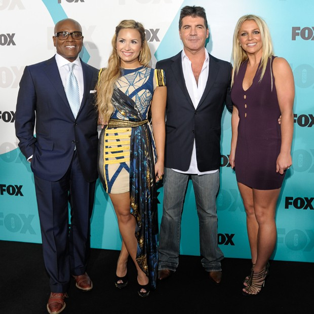 L.A Reid; Demi Lovato; Simon Cowell e Britney Spears (Foto: Getty Images)
