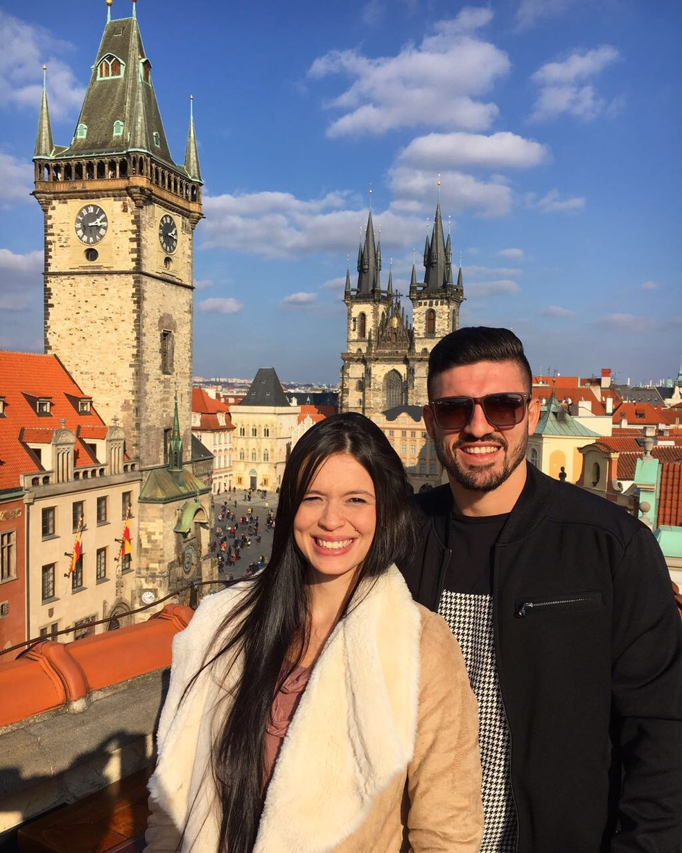 Peu fez turismo com a esposa em Praga (República Tcheca), que é perto de Samorin (Foto: Arquivo pessoal)