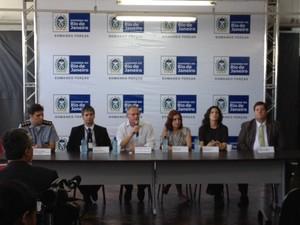 Coletiva na Secretaria de Segurança sobre a Operação Fortaleza (Foto: Cristina Indio do Brasil/ G1)