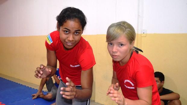 Pietra Sangel e Jesus Santos, atletas da luta olímpica, delegação amapaense 2013 (Foto: Wellington Costa/GE-AP)