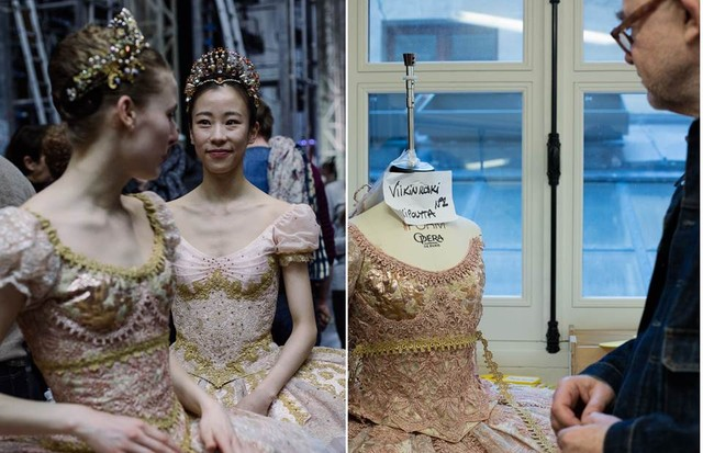 Christian Lacroix makes final checks to his costumes for A Midsummer Night's Dream before the dress rehearsal (left) (Foto: ANN RAY)