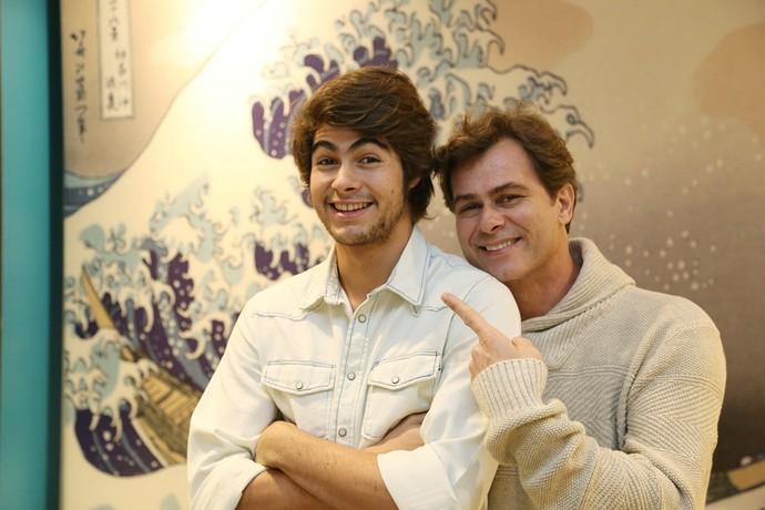 Filho e pai nos bastidores do 'Domingão do Faustão' (Foto: Carol Caminha/Gshow)