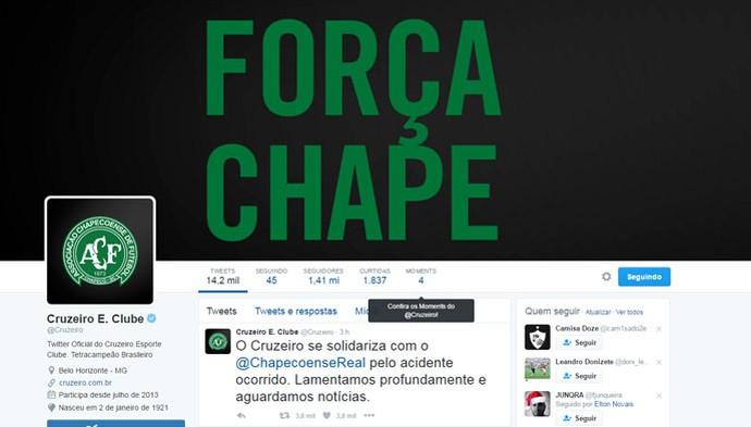 Cruzeiro se solidariza com a tragédia envolvendo a Chapecoense (Foto: Reprodução / Twitter)
