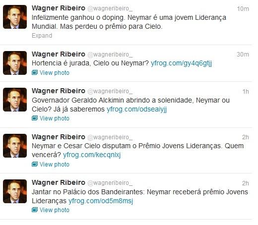 Wagner Ribeiro cutucou César Cielo após a premiação (Foto: Reprodução/Twitter)