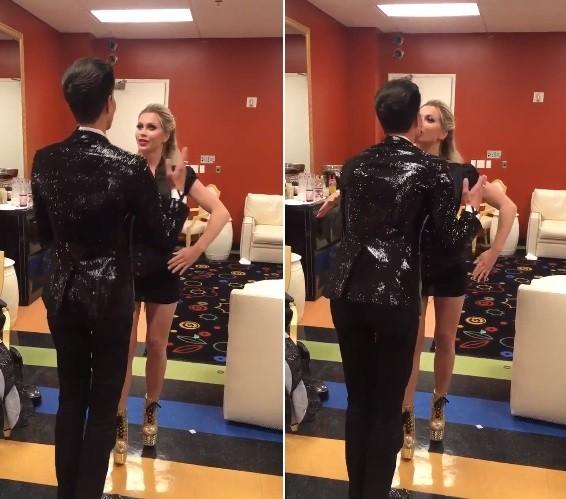 Justin e Pixee imitam movimentos de bonecos e se beijam