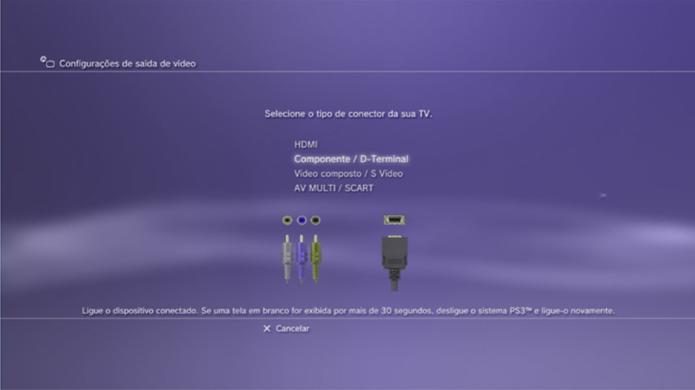 Configurações de Componente / Terminal D do PS3 (Foto: Divulgação).