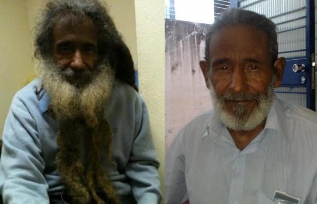 O ex-morador de rua Raimundo Arruda antes e depois da mudança de visual (Foto: Reprodução/Facebook)