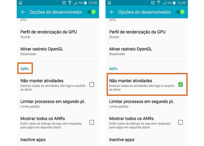Ative a função no modo de desenvolvedor no Android (Foto: Reprodução/Barbara Mannara)