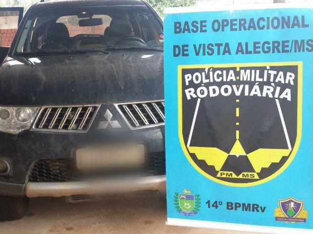 Caminhonete foi achada após vistoria em rodovia de MS (Foto: Divulgação/PRE)