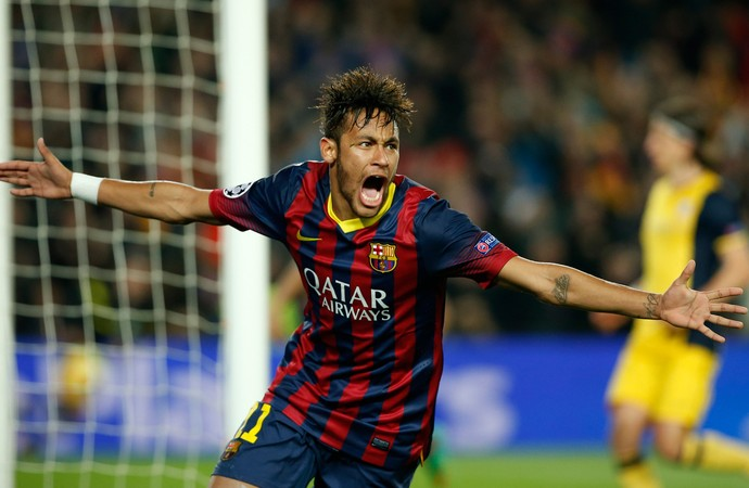Neymar comemora, Barcelona x Atlético de Madrid (Foto: AP)