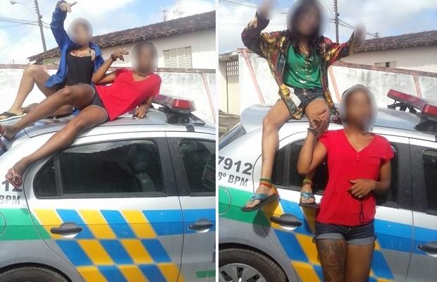 Menores são apreendidas após tirar fotos em cima de carro da PM, em Catalão, Goiás 2 (Foto: Reprodução)
