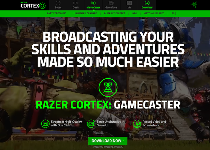 Faça download de Razer Cortex Gamecaster para streaming de