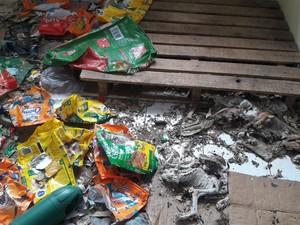 Alguns animais estavam dentro de sacos de ração (Foto: Reprodução/RBS TV)